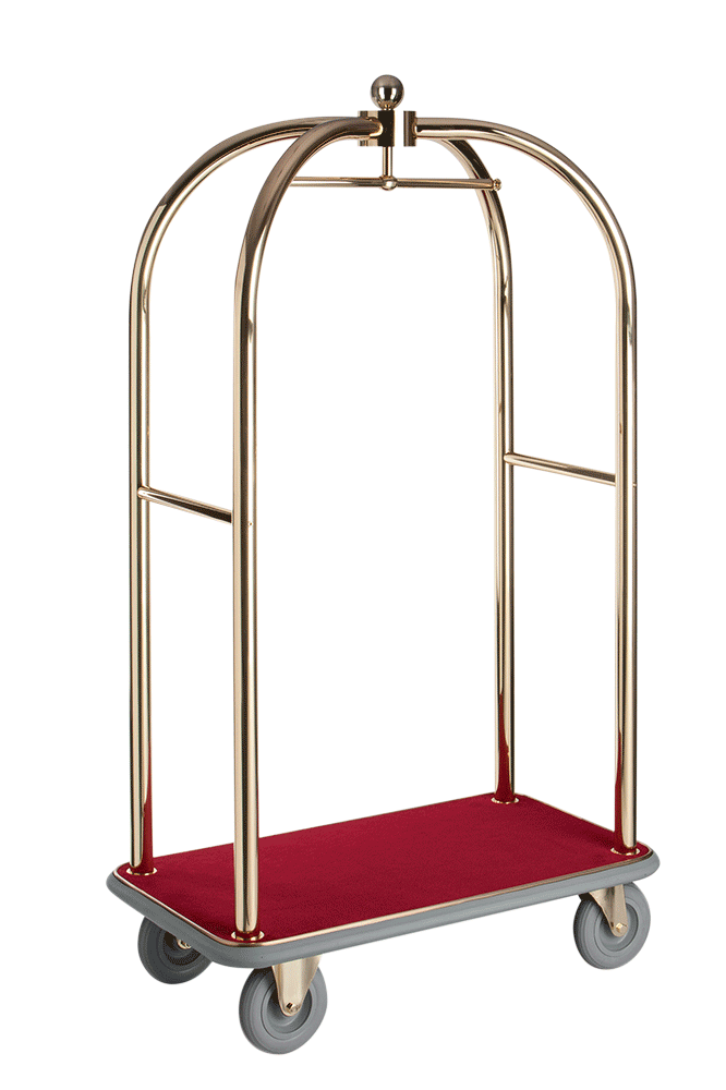 The Prestigious Luggage Trolley Transbag Vip Br Fits Harmoniously Into Any Ambience Here As High Quality Brass Version In Two Different Tube Diameters